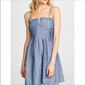 NEW Madewell Blue Chambray Pintuck Mini Dress 2